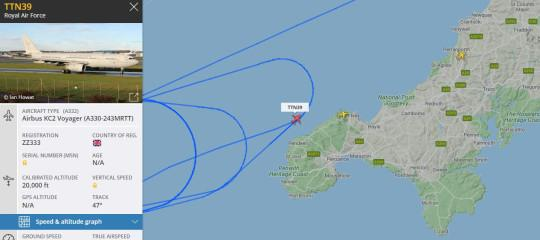 The flightpath of an RAF aircraft flying above Cornwall today (Picture: FlightRadar24.com)